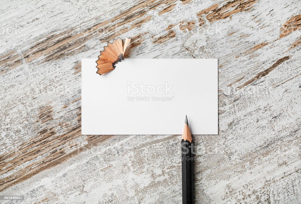 Business card and pencil stock photo