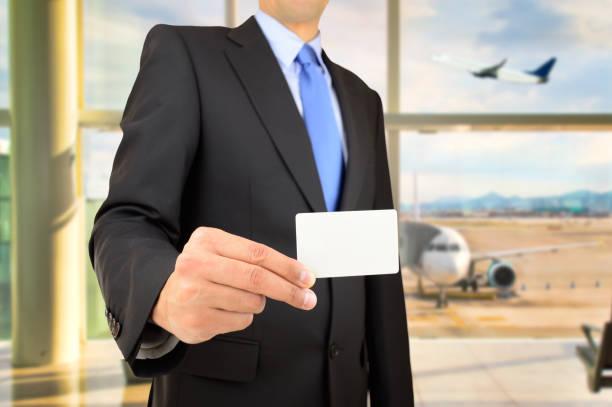 cartão de visita no aeroporto - foto de acervo