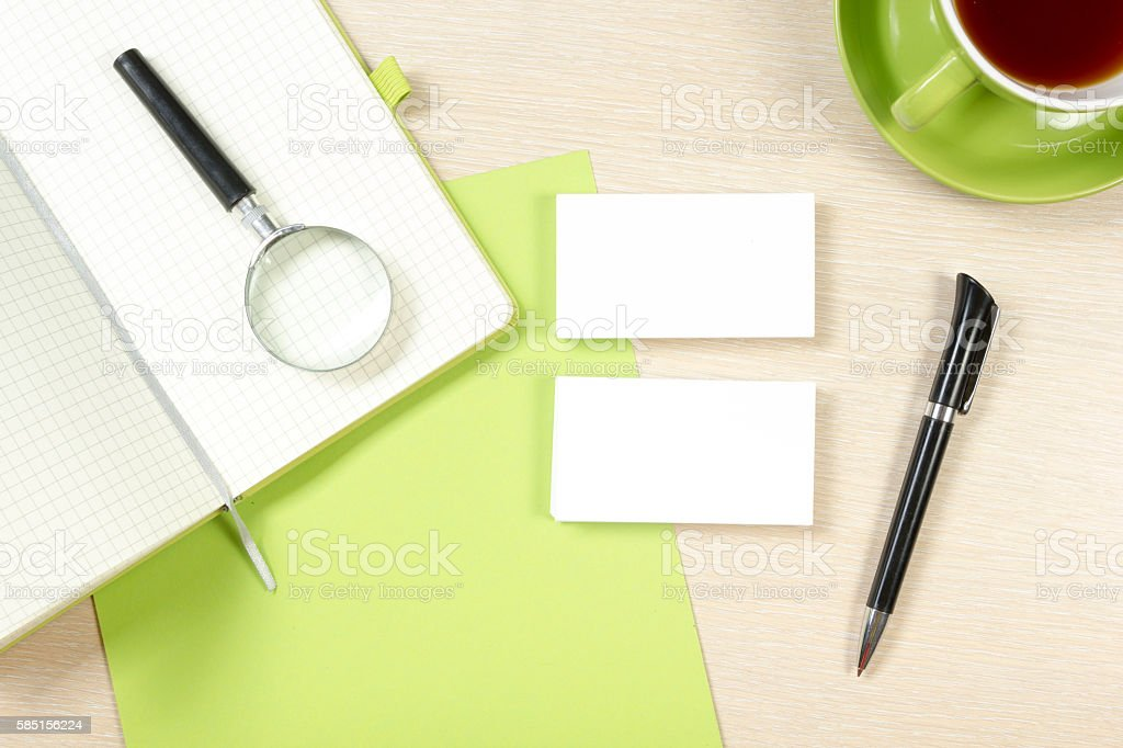 Business Card Blank Notepad Coffee Cup And Pen At Office stock ...