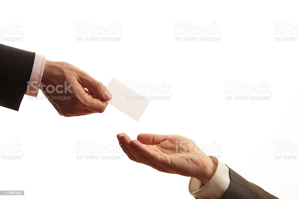 Business Card Exchange royalty-free stock photo