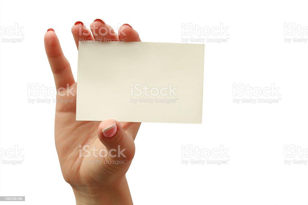 Visitenkarte in eine Frau hand – Foto