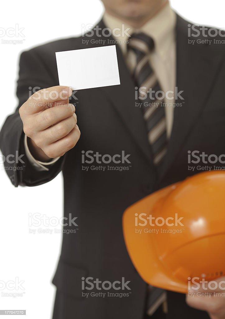 Visitenkarte In Der Hand Oder Ingenieur Architekt Stockfoto