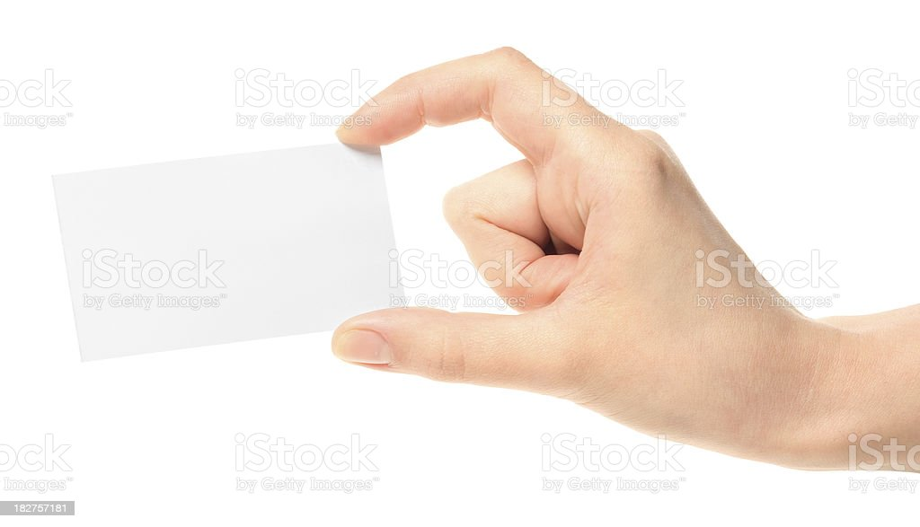 business card in hand royalty-free stock photo