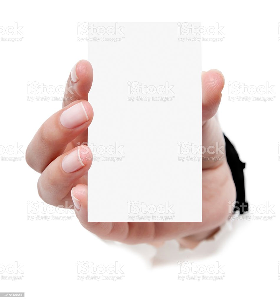 Business Card In Woman Hand On White Stock Photo & More Pictures of ...