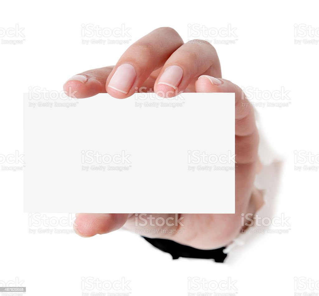 Business card in woman hand on white stock photo istock business card in woman hand on white royalty free stock photo magicingreecefo Choice Image