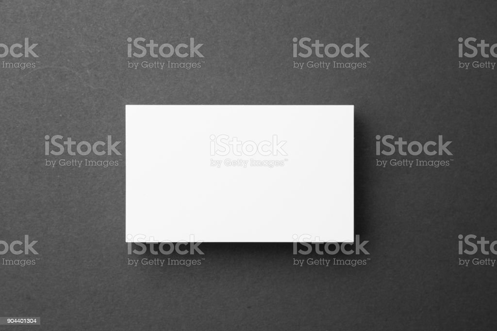 Business card on black background stock photo