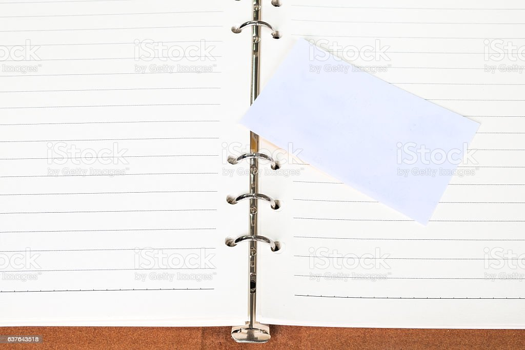 Business Card on notebook (memo) stock photo