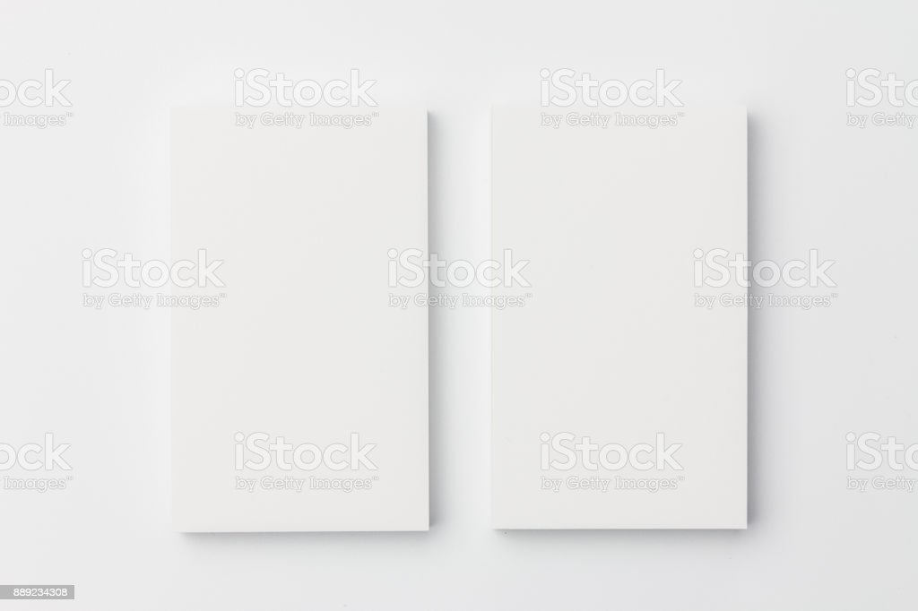 Business card on white background stock photo