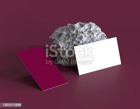 Business card and brutal stone design mockup
