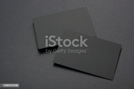 istock Business cards blank. Mockup on color background. Flat Lay. copy space for text 1098000390
