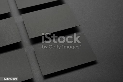 istock Business cards blank. Mockup on color background. Flat Lay. copy space for text 1128017599