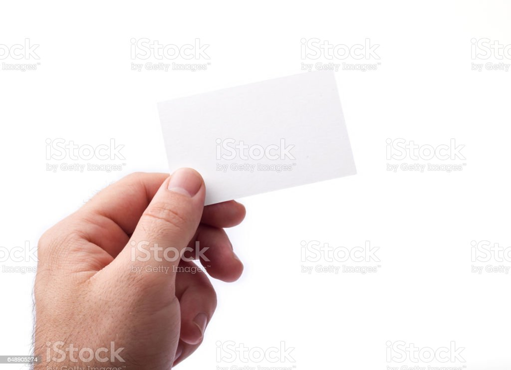 Business cards isolated on white holding in hands stock photo