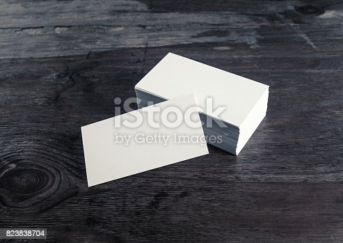 istock Business cards on wood 823838704