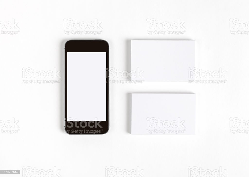 Business cards & smart phone stock photo