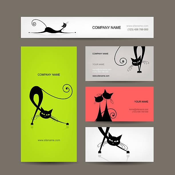 visitenkarten mit schwarze katzen für dein design - katze zeichnen stock-fotos und bilder