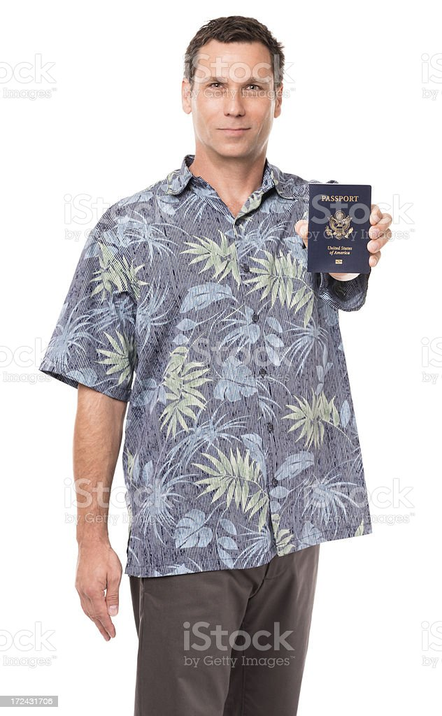 Business Casual Businessman Holding Passport Isolated on White Background royalty-free stock photo