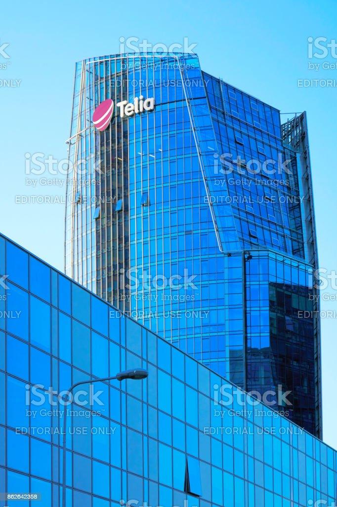 Business center architecture of modern metal and glass skyscraper Vilnius stock photo