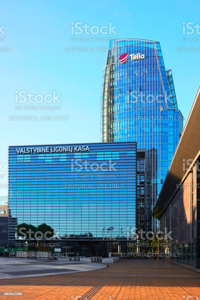 Business center architecture of steel and glass skyscrapers stock photo