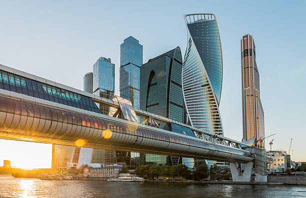 Business center Moscow-city at sunset. City of Moscow. Russia. Business center Moscow-city at sunset. moscow russia stock pictures, royalty-free photos & images