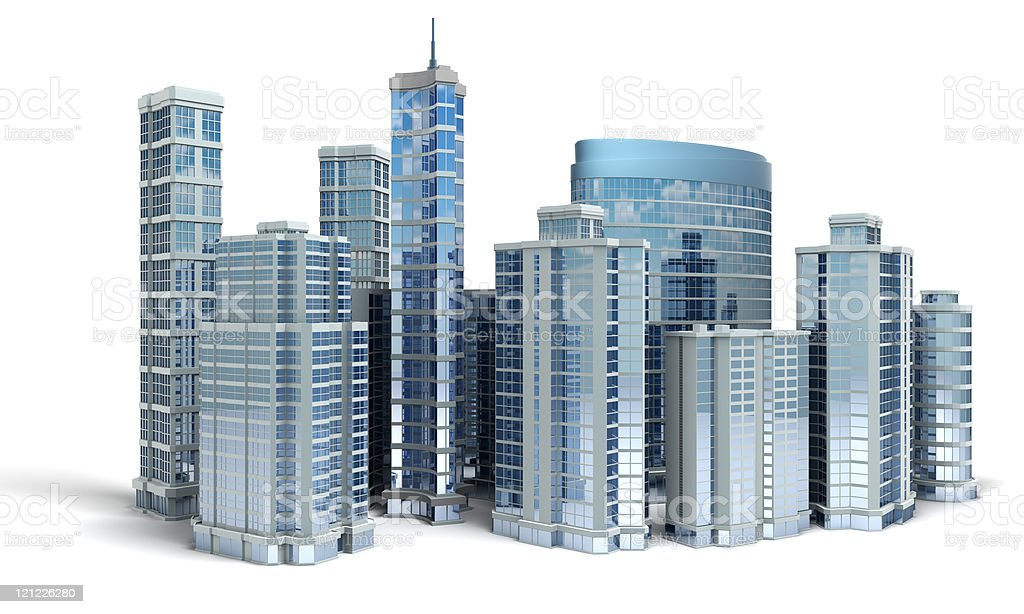 Business center. Office buildings on white royalty-free stock photo