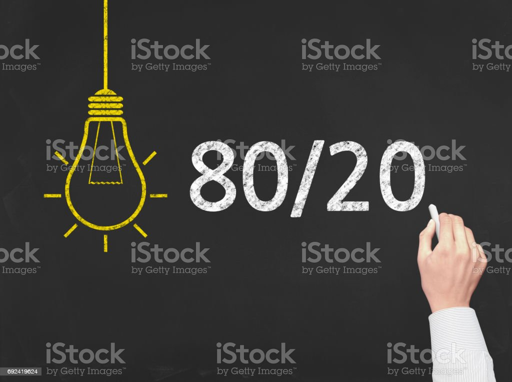 80/20 (Pareto's Law) - Business Chalkboard Background stock photo