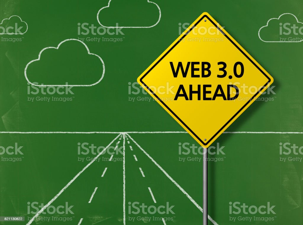 WEB 3.0 AHEAD - Business Chalkboard Background stock photo