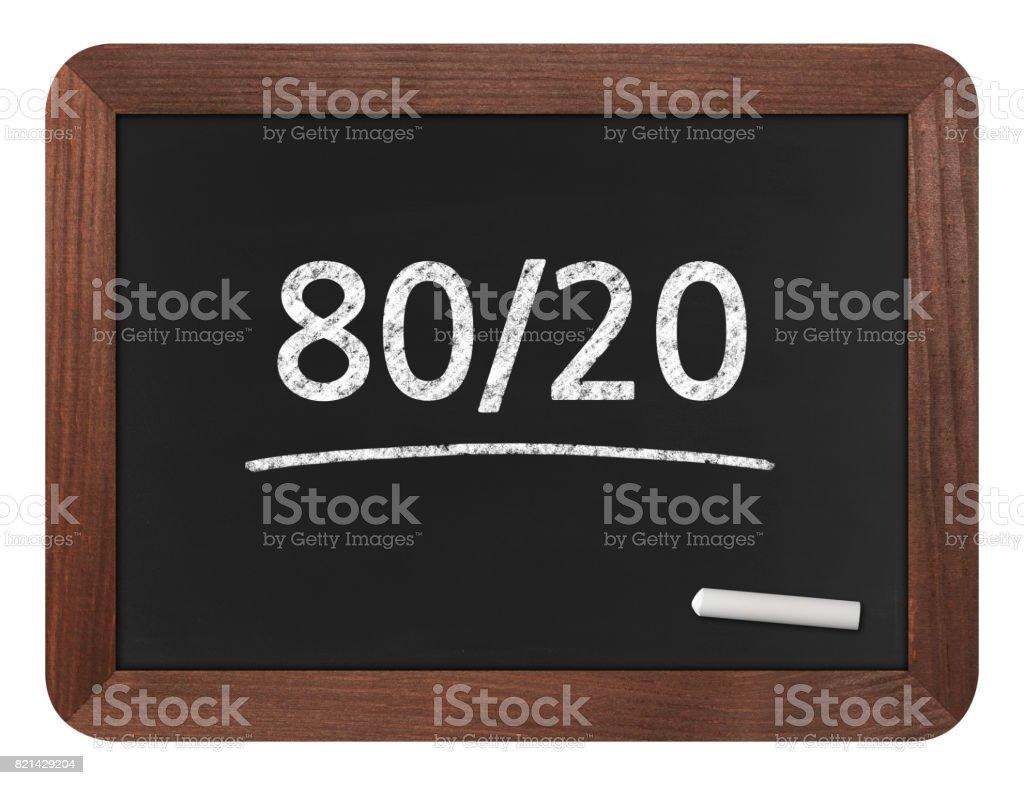 80/20 (Pareto Principle) - Business Chalkboard Background stock photo