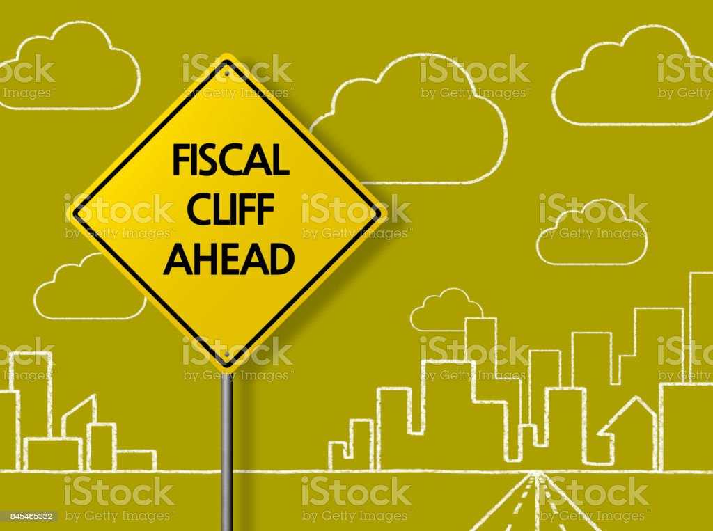 FISCAL CLIFF AHEAD - Business Chalkboard Background stock photo