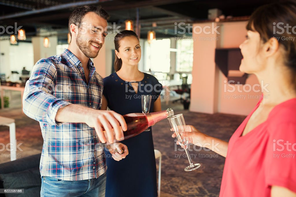 Business champagne in office. Corporate party royalty-free stock photo