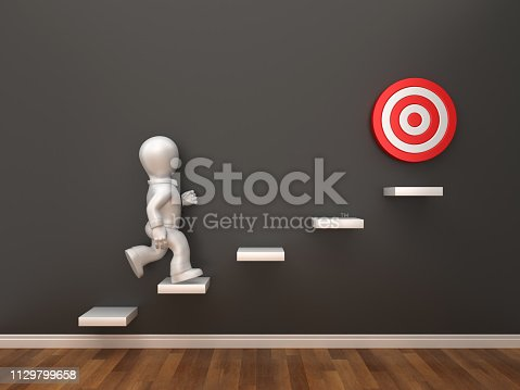 1014851458 istock photo Business Character on Steps with Target in Room - 3D Rendering 1129799658