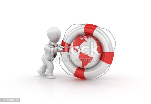 471353682 istock photo Business Character Pushing Life Belt with Globe World - 3D Rendering 926293250
