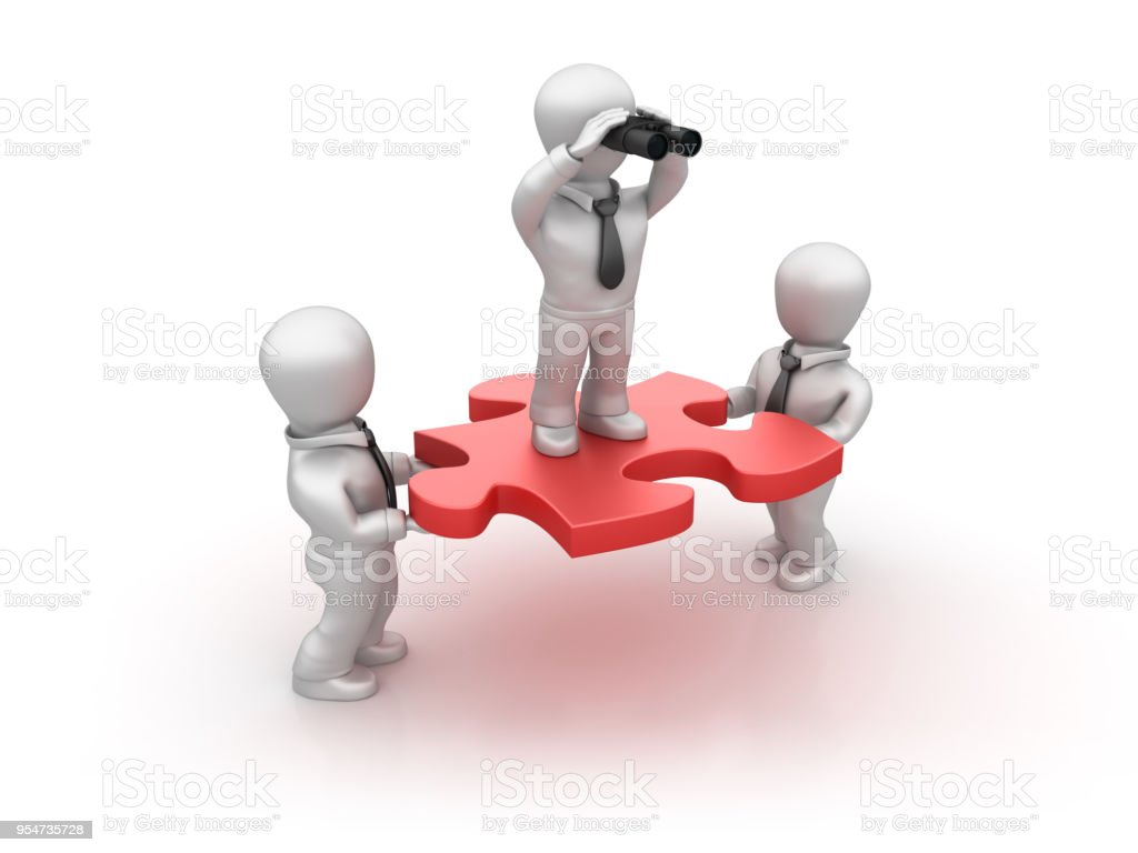 Business Character with Binoculars on Jigsaw Piece - 3D Rendering stock photo