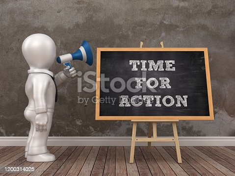 Business Character with Megaphone and Easel with TIME FOR ACTION Phrase - 3D Rendering