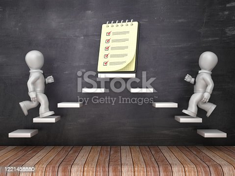 Business Characters on Steps with Check List Notepad on Chalkboard - 3D Rendering