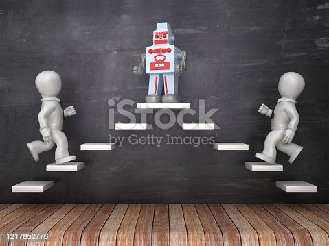 Business Characters on Steps with Retro Robot on Chalkboard - 3D Rendering