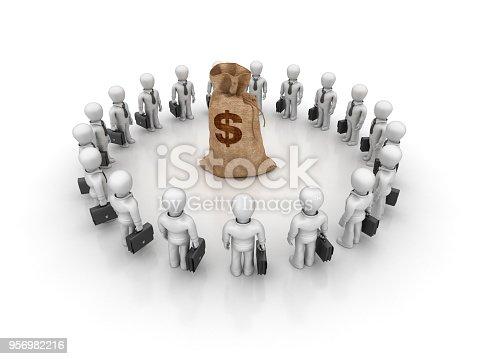 872222012istockphoto Business Characters Teamwork Money Dollar Sack - 3D Rendering 956982216