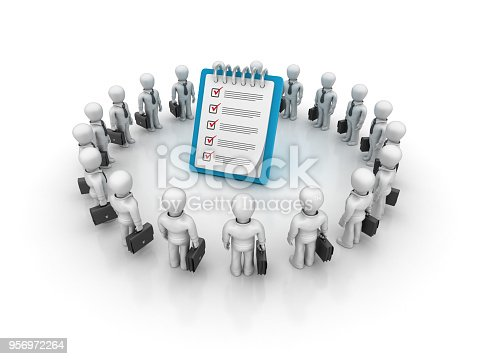 537516368 istock photo Business Characters Teamwork with Checklist Clipboard - 3D Rendering 956972264