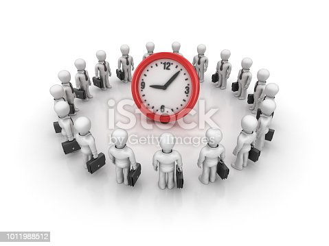 Business Characters Teamwork with Clock - White Background - 3D Rendering