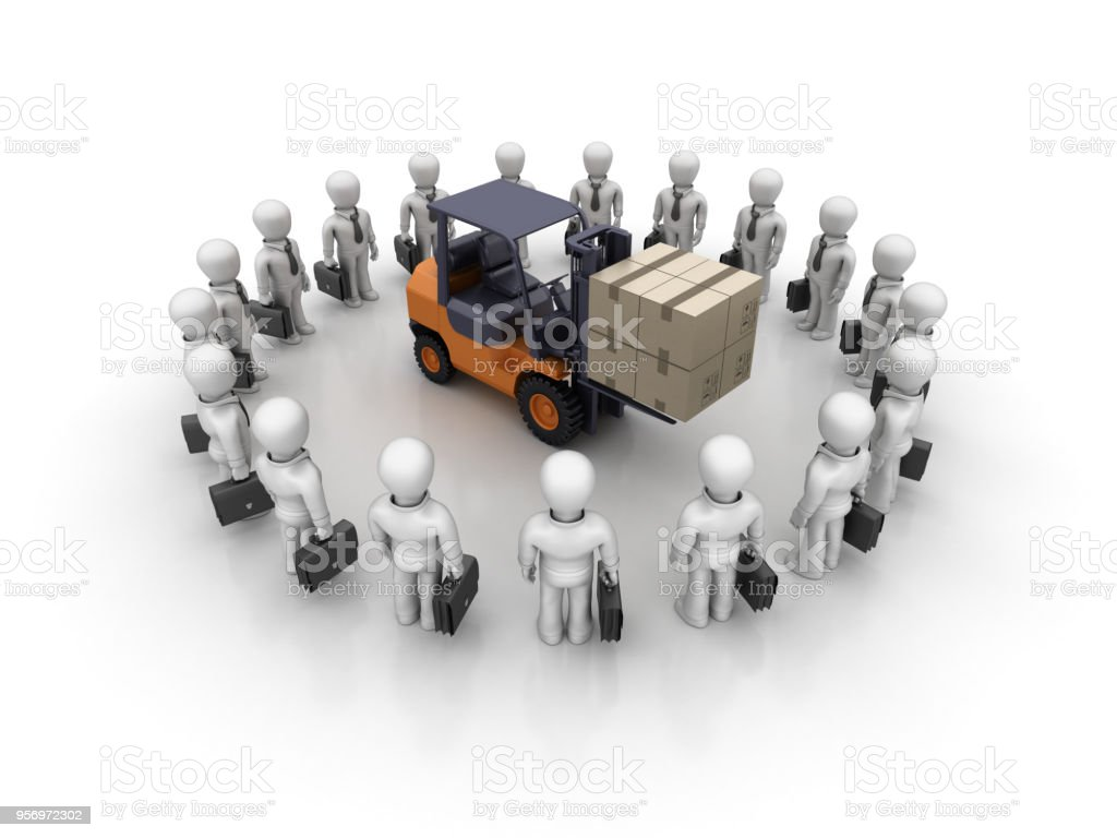 Business Characters Teamwork With Forklift Truck 3d