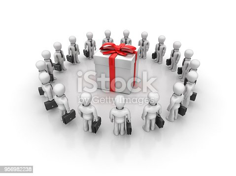 istock Business Characters Teamwork with Gift Box - 3D Rendering 956982238