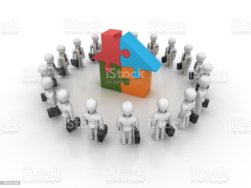 Negócios com quebra de casa - trabalho em equipe de personagens 3D Rendering - Foto de stock de Adulto royalty-free