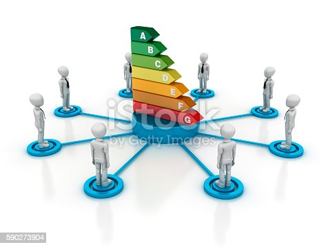 istock Business Characters with Enery Efficient Diagram 590273904