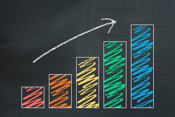 business chart on a blackboard - diagramma a colonne foto e immagini stock