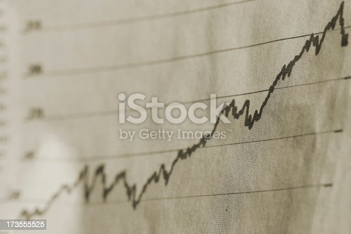 stock exchange chart- focus on the right hand
