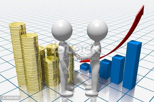 istock 3D business chart 518685990