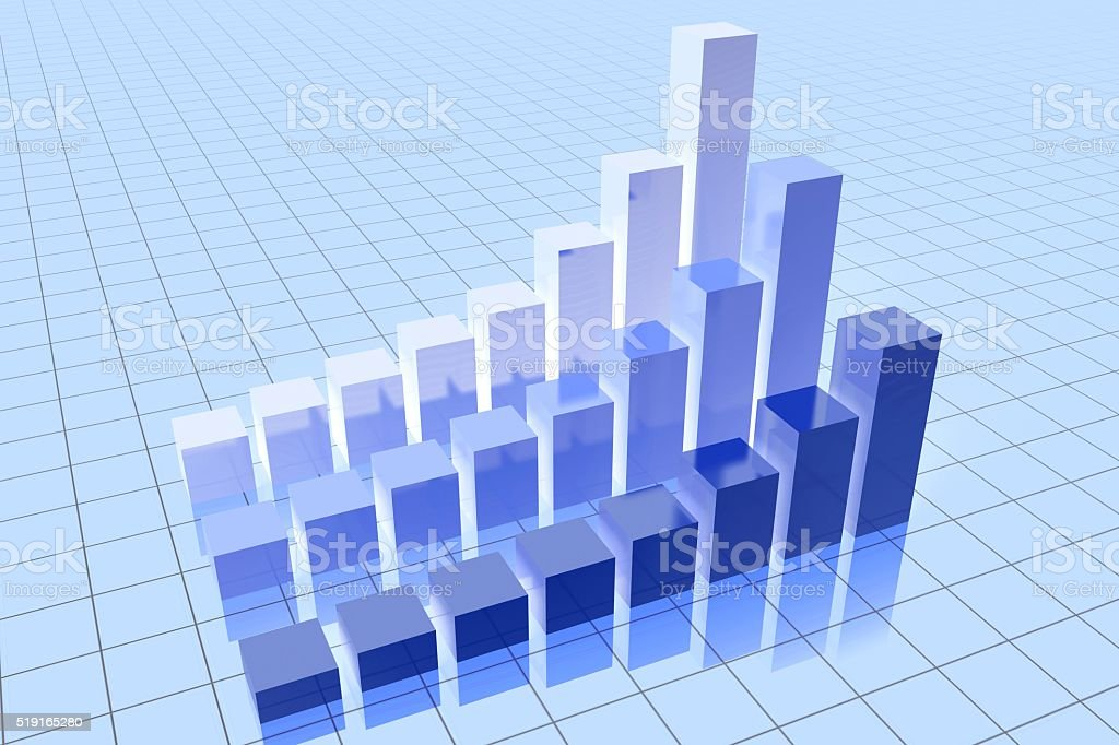 3D business chart stock photo