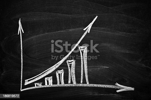 istock Business chart showing growth drawn in chalk in a blackboard 186819572