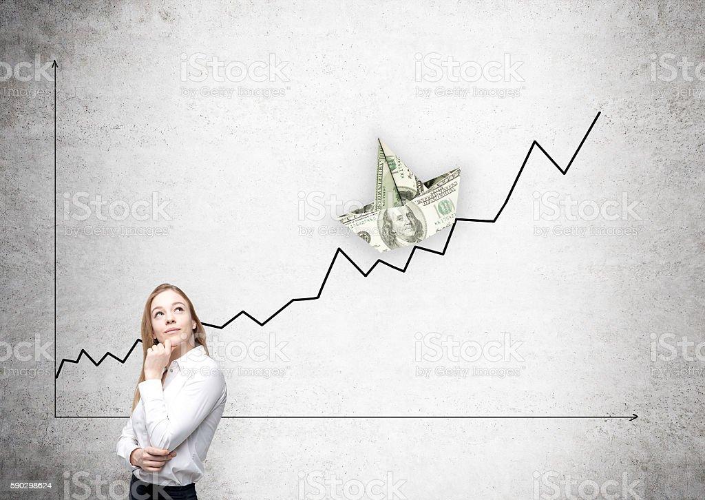 Business chart with dollar boat royaltyfri bildbanksbilder