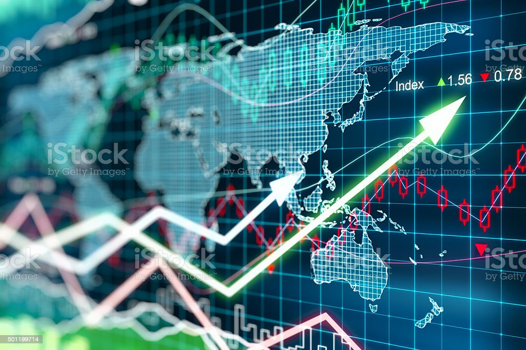 Business chart with glowing arrows and world map stock photo