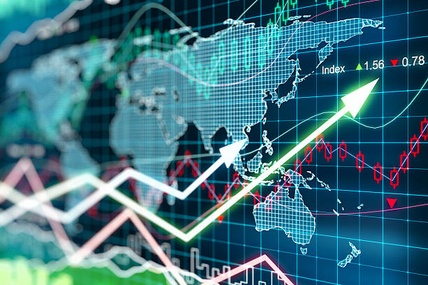 business chart with glowing arrows and world map - dealing stock photos and pictures